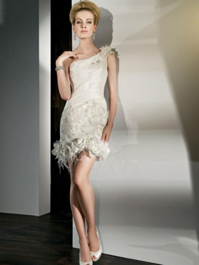 wedding photo - One Shoulder Taffeta Lace Flower Wedding Dress with Pleated Bodice and Mini Gown