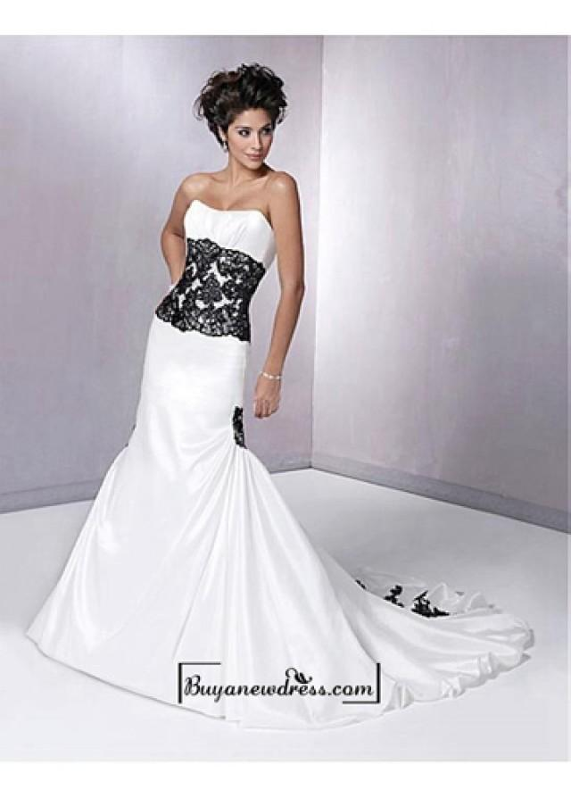 An elegant taffeta strapless mermaid wedding dress for Strapless taffeta wedding dress