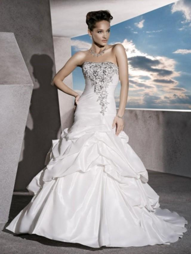 wedding photo - Taffeta Strapless Perfect Wedding Dress with Ruched Bodice and Lace-up Back
