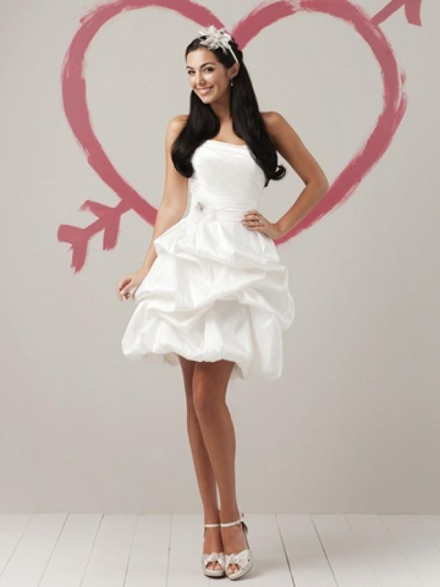 wedding photo - Short Taffeta Strapless Summer Funky Wedding Dress with Short Pick Up Skirt