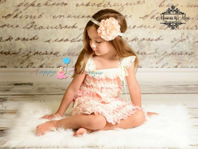 wedding photo - flower girl dess, Ivory Blush Peach Lace Dress, ruffle dress, girls dress, Birthday outfit, baby dress, wedding flower girls, toddler dress