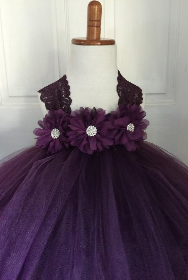Plum Flower Girl Satin Lace Tutu Dress Wedding