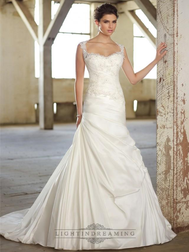 cap sleeves lace over bodice a line wedding dresses with illusion back. Black Bedroom Furniture Sets. Home Design Ideas