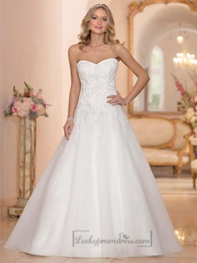 Strapless sweetheart embellished lace bodice a line for Full body wedding dress