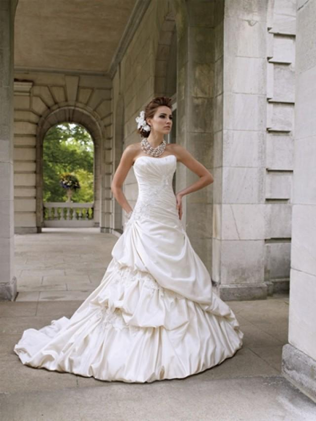 Strapless luxurious satin wedding dress with side draped for Pick up skirt wedding dresses
