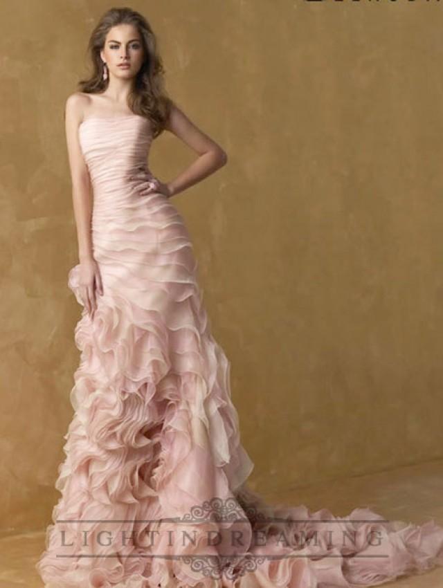 Romantic pink strapless a line ruffles wedding dresses for Strapless wedding dress with ruffles