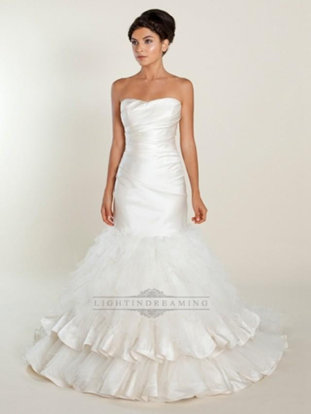 wedding photo - Strapless Mermaid Wedding Dress with Ruched Bodice and Layered Skirt