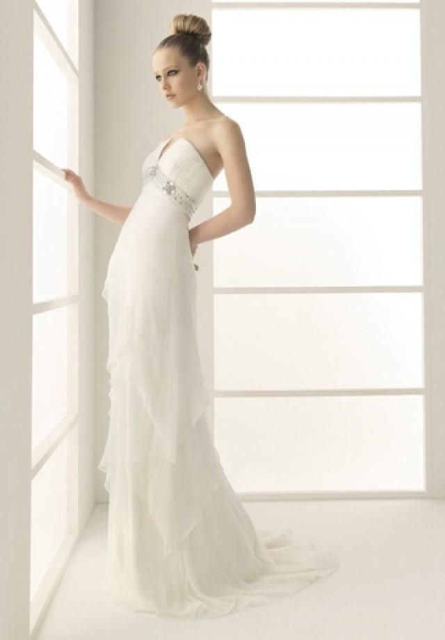 wedding photo - Chiffon Strapless A-line Beaded Sexy Wedding Dress