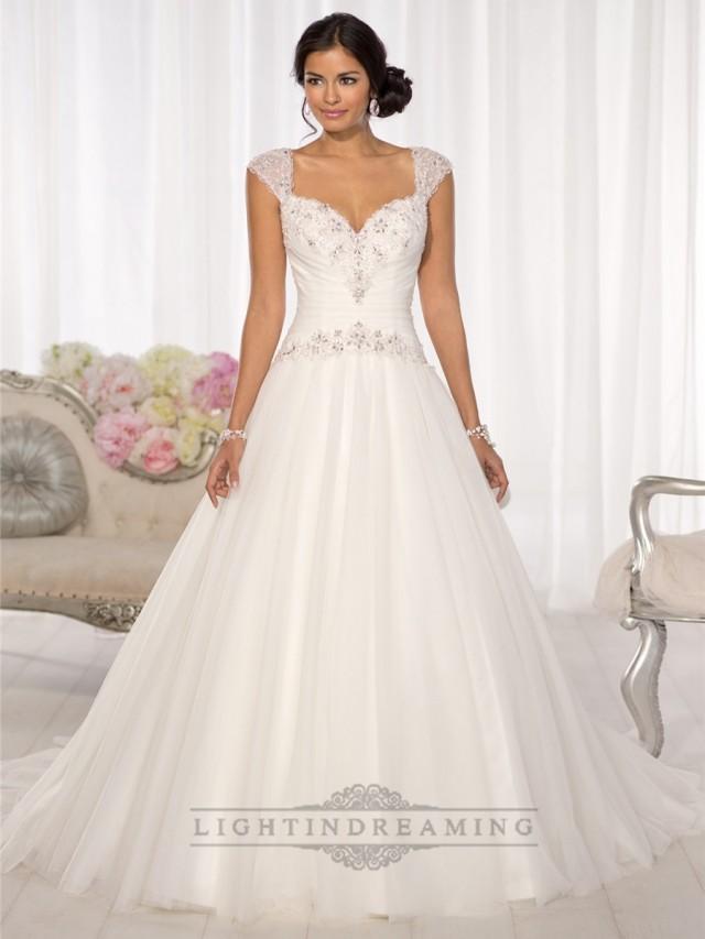 Beaded cap sleeves sweetheart a line keyhole back wedding for Wedding dresses with keyhole back