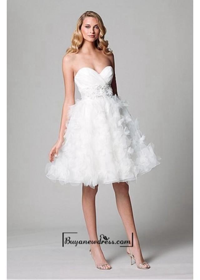 wedding photo - Adorable Organza & Satin Ball Gown Strapless Sweetheart Neckline Empire Waist Short Bridal Dress