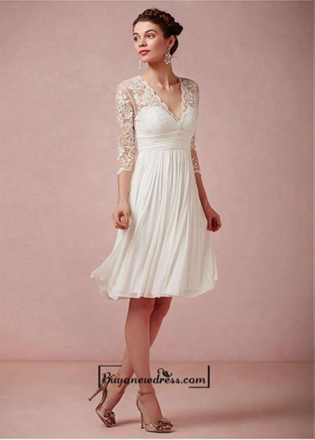 wedding photo - Amazing Tulle & Chiffon & Satin A-line V-neck Empire Waist Short Wedding Dress