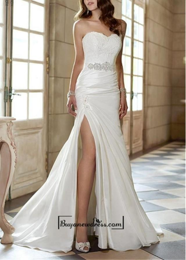 wedding photo - Attractive Taffeta Sheath Sweetheart Neckline Natural Waist Slit Floor Length Wedding Dress