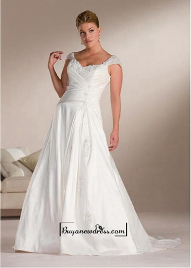 wedding photo - Beautiful Elegant Exquisite A-line Taffeta Wedding Dress In Great Handwork