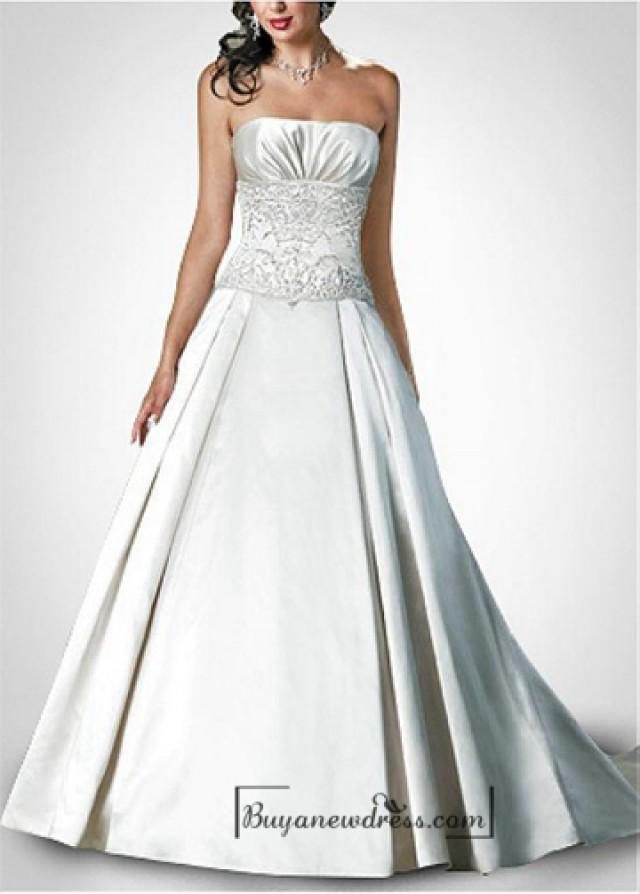 wedding photo - Beautiful Exquisite Elegant Satin A-line Wedding Dress In Great Handwork