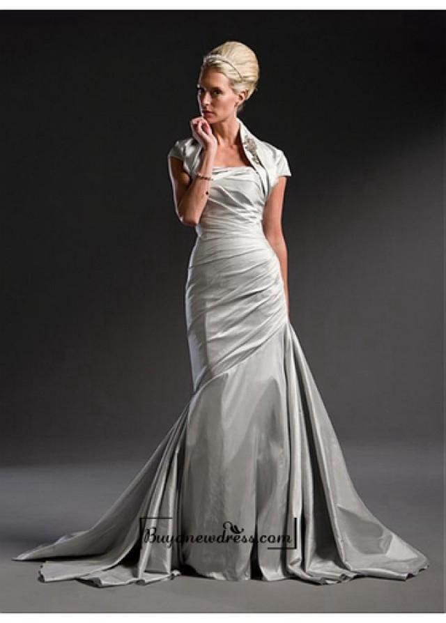 wedding photo - A Fabulous Taffeta Straight Neck Wedding Dress