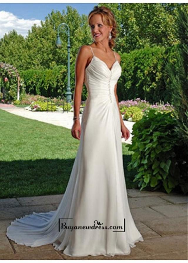 wedding photo - Beautiful Elegant Chiffon Sheath V-neck Wedding Dress In Great Handwork