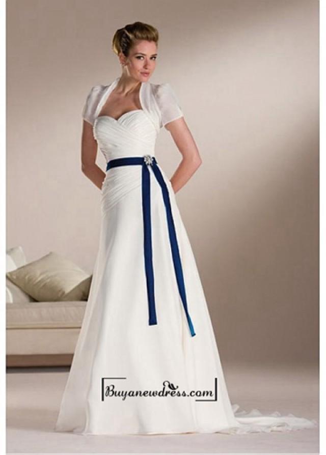 wedding photo - Beautiful Elegant Chiffon Sweetheart Wedding Dress