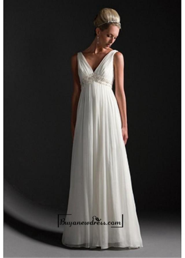 wedding photo - Beautiful Elegant Exquisite Empire V-neck Wedding Dress In Great Handwork
