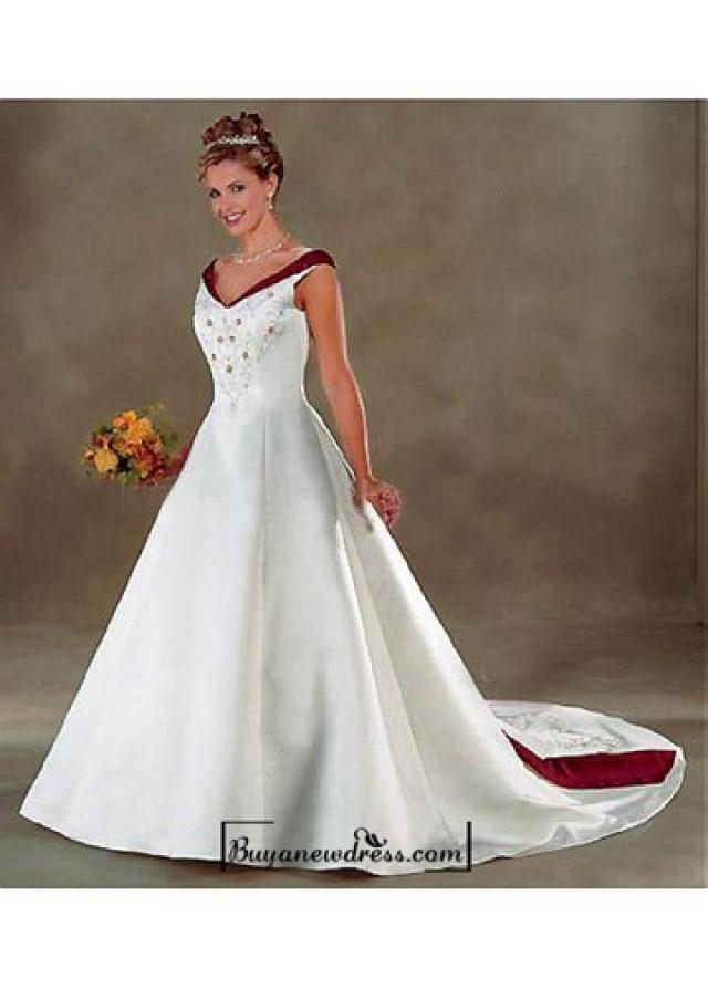wedding photo - Beautiful Elegant Exquisite Off-the-shoulder Satin Wedding Dress In Great Handwork