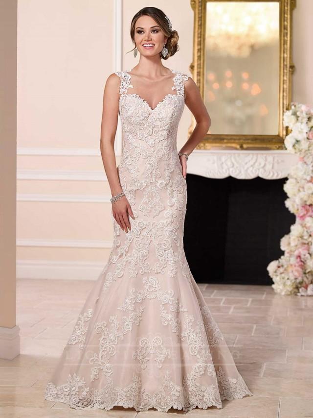 Straps sweetheart neckline lace wedding dress with for Illusion sweetheart neckline wedding dress