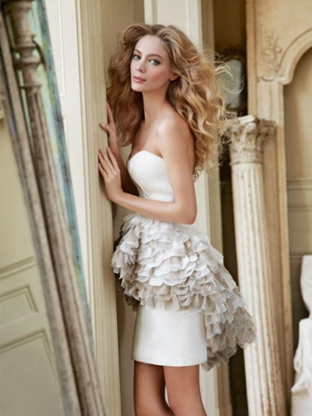wedding photo - Strapless Satin-faced Organza Mini Bridal Dress with Ombre Pleated Peplum