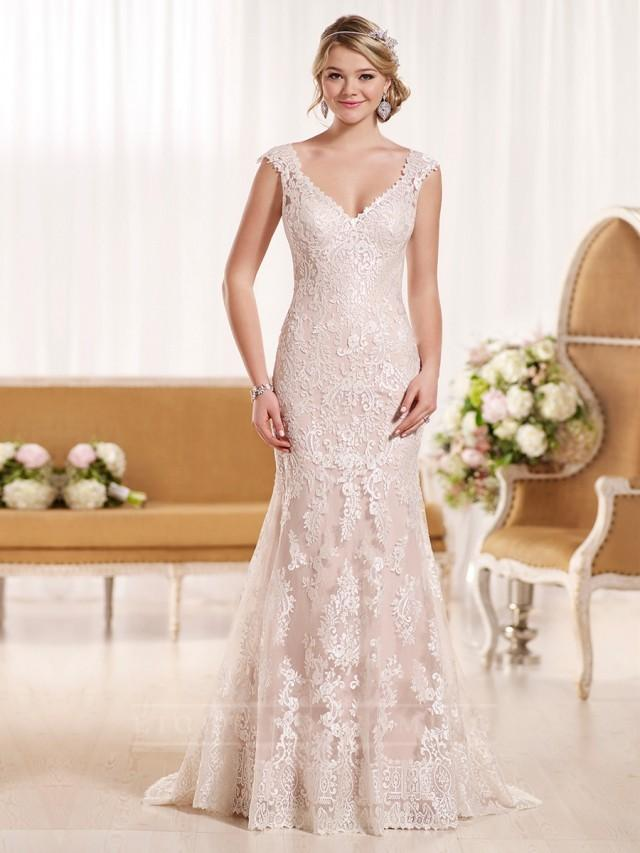 Cap sleeves illusion lace back wedding dress for T back wedding dress