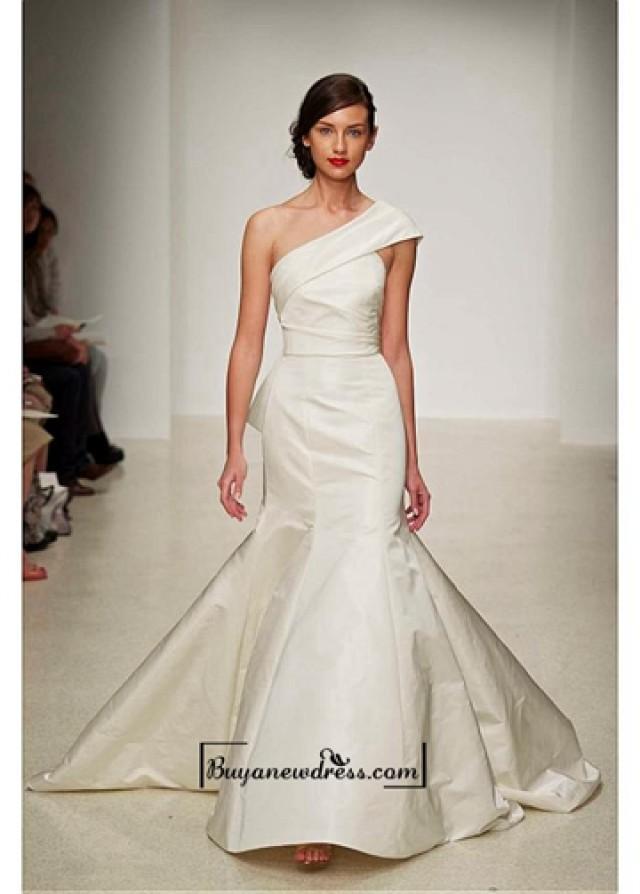wedding photo - Alluring Taffeta & Satin One Shoulder Neckline Natural Waistline Mermaid Wedding Dress