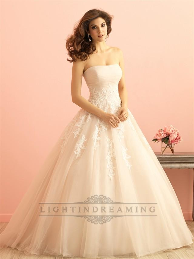 Strapless ruched bodice lace appliques princess ball gown for 3 in 1 wedding dress