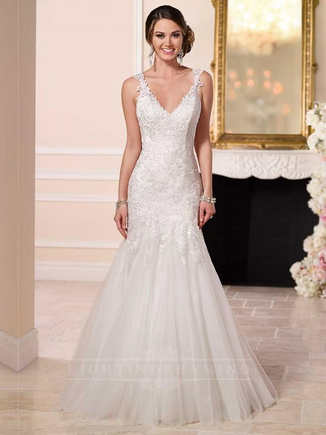 Fit and flare beaded lace and tulle satin wedding dress for Satin fit and flare wedding dress