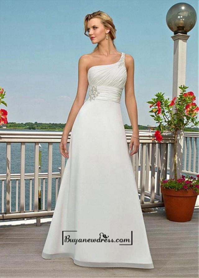 wedding photo - Amazing Chiffon & Satin A-line One Shoulder Neckline Empire Waist Wedding Dress