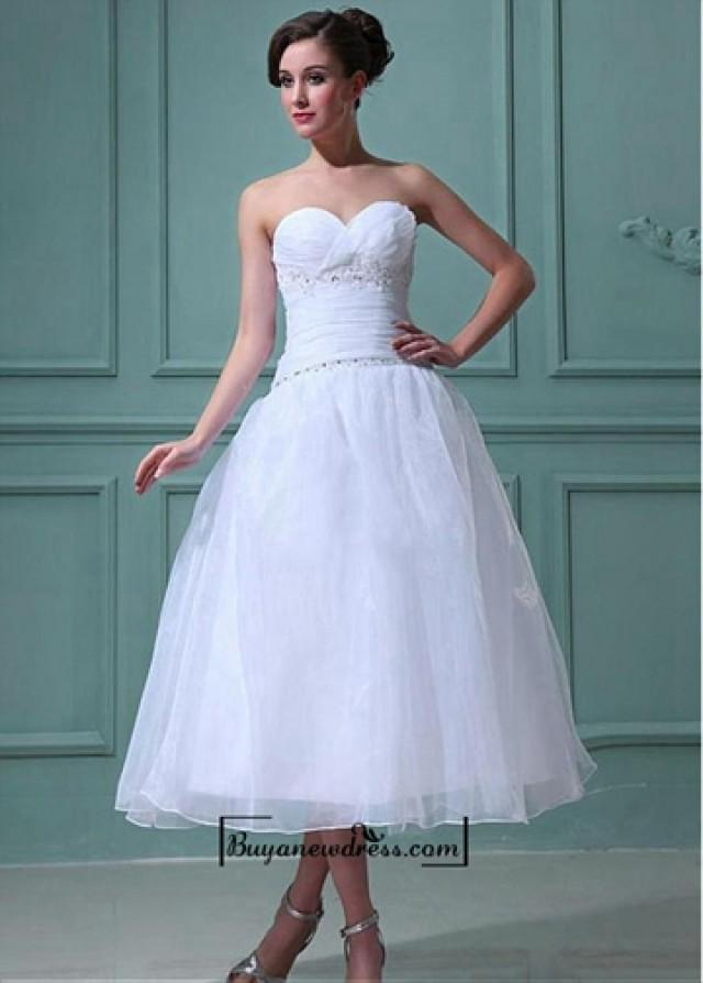 wedding photo - Attractive Organza & Satin A-line Sweetheart Empire Waist Tea Length Wedding Dress