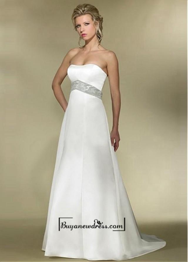 wedding photo - Attractive Satin Empire Strapless Empire Waist Wedding Dress