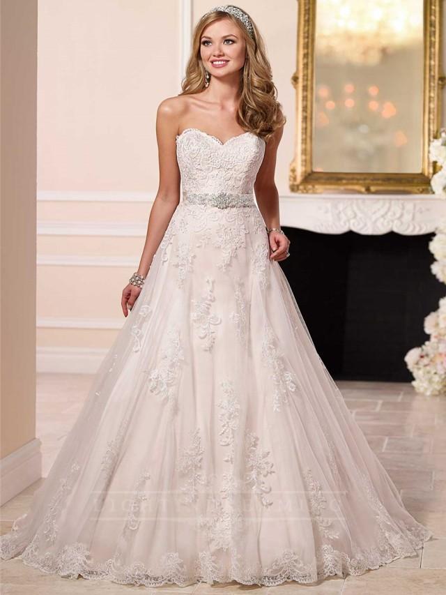 Sweetheart A Line Princess Lace Wedding Dress 2444509