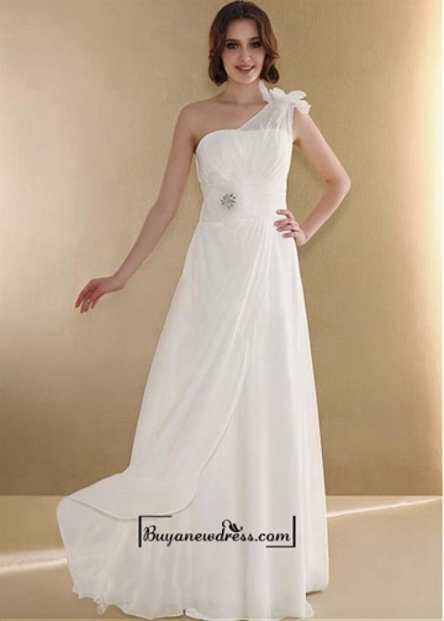 wedding photo - Beautiful Chiffon & Satin & Organza Sheath One Shoulder Floor Length Wedding Dress