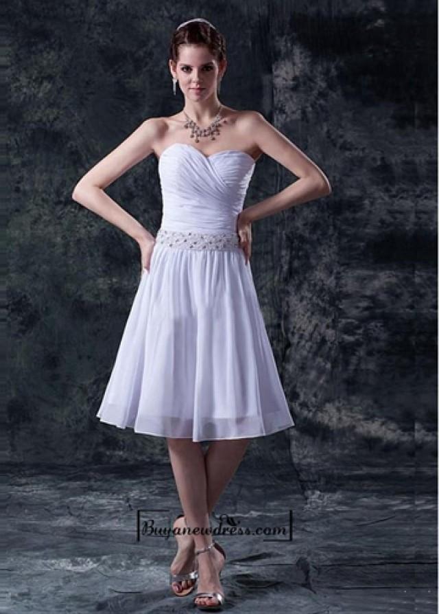 wedding photo - Beautiful Chiffon & Satin A-line Sweetheart Pleated Wedding Dress