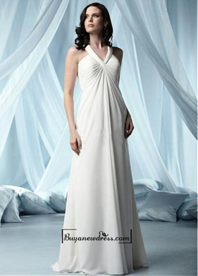 wedding photo - Beautiful Chiffon & Satin Empire V-neck Floor Length Wedding Dress