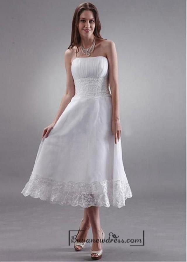 wedding photo - Beautiful Organza & Lace A-line Strapless Empire Waist Tea Length Wedding Dress