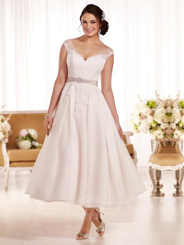 Off the shoulder a line tea length wedding dress for One shoulder tea length wedding dress