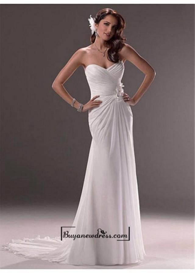 wedding photo - Beautiful Chiffon & Satin Mermaid/trumpet Sweetheart Neck Natural Waistline Pleated Wedding Dress