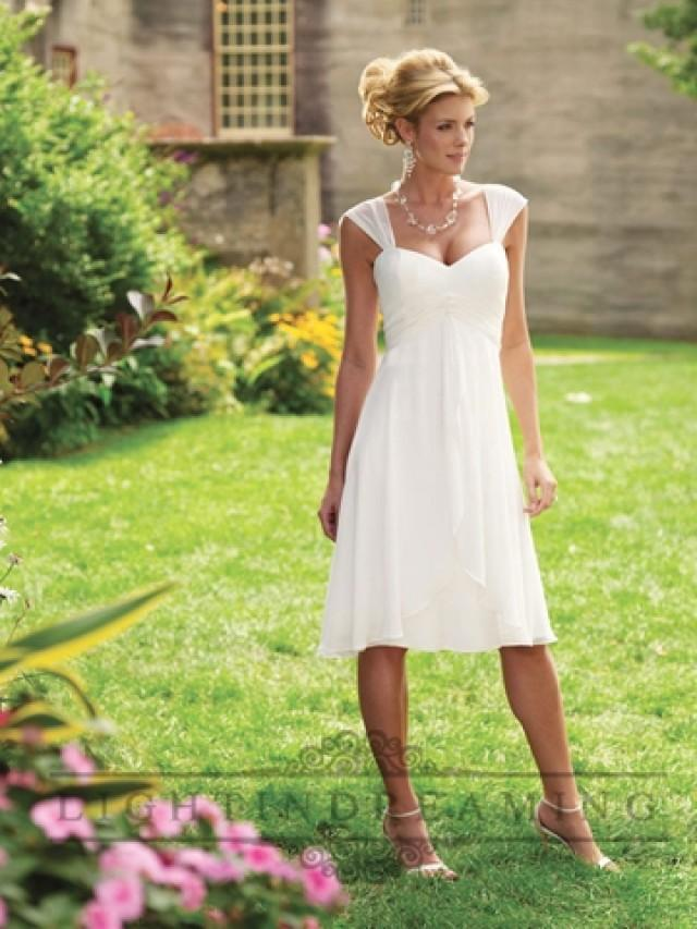 wedding photo - Tea length Tapered Straps A-line Wedding Dress with Draped Multi-layered Skirt