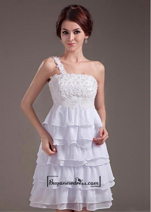 wedding photo - Beautiful Chiffon & Satin A-line One Shoulder Knee Length Wedding Dress
