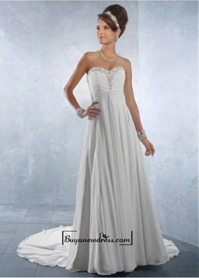 wedding photo - Beautiful Chiffon & Satin Empire Sweetheart Neck Raised Waistline Wedding Dress