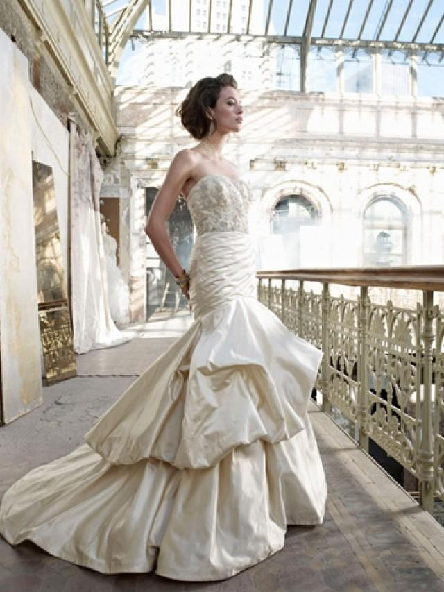 wedding photo - Antique Silk Faced Satin Pick-up Asymmetrical Pleated Trumpet Wedding Dress