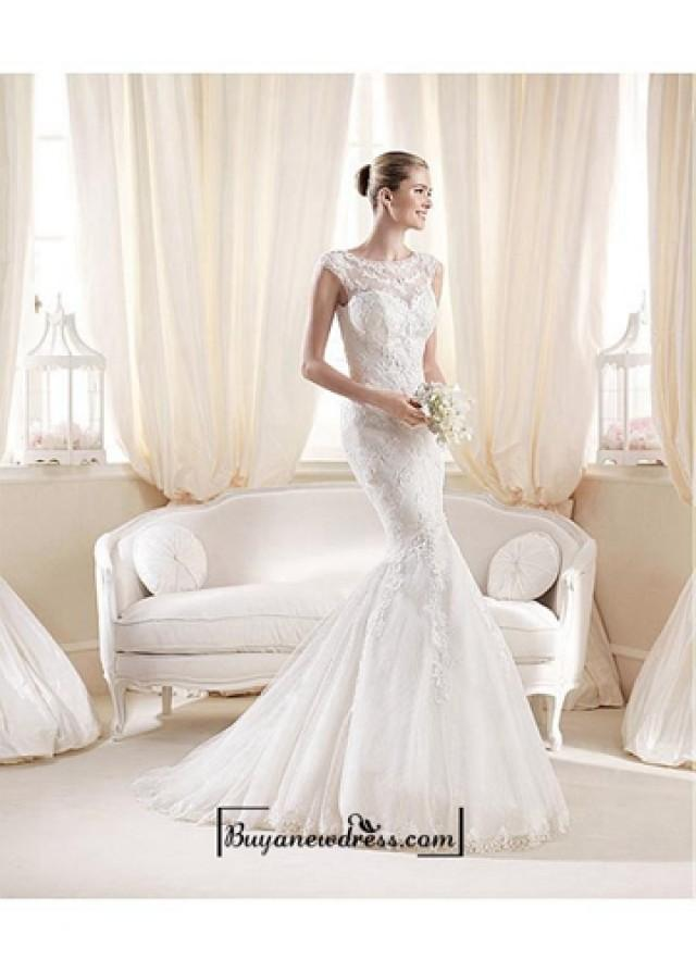 wedding photo - Alluring Tulle & Satin Bateau Neckline Natural Waistline Mermaid Wedding Dress
