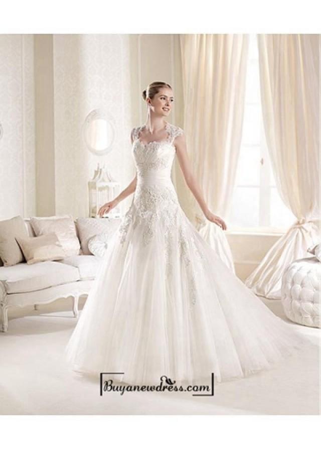 wedding photo - Alluring Tulle & Satin Sweetheart Neckline Natural Waistline A-line Wedding Dress