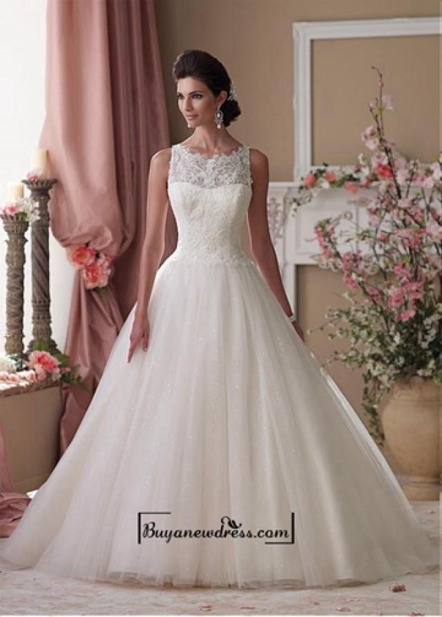 wedding photo - Alluring Tulle & Sequins Mesh & Satin Jewel Neckline Dropped Waistline A-line Wedding Dress