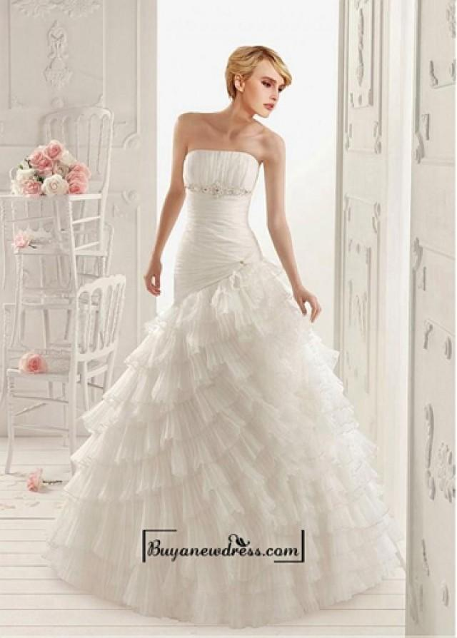 wedding photo - Alluring Organza Satin & Stabilized Tricot A-line Strapless Neckline Asymmetrical Waist Layered Wedding Dress With Beaded Lace Appliques
