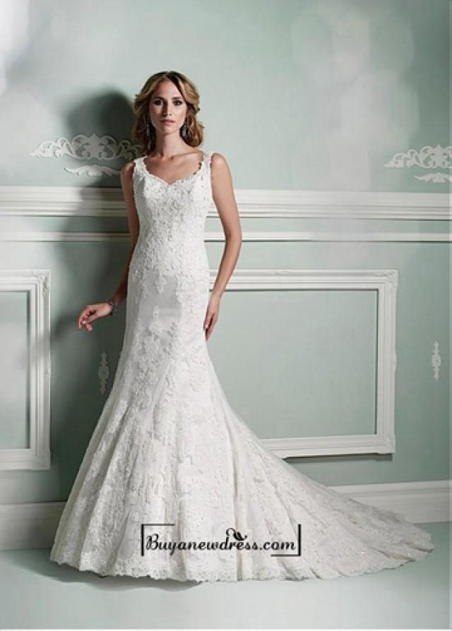 wedding photo - Alluring Polka Dot Tulle & Satin Square Neckline Natural Waistline A-line Wedding Dress