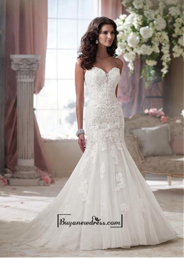 wedding photo - Alluring Tulle & Satin Sweetheart Neckline Natural Waistline Mermaid Wedding Dress