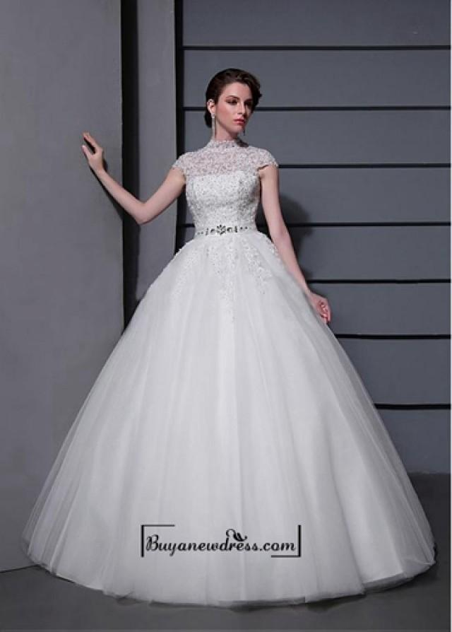 wedding photo - Amazing Tulle&Satin Ball gown Illusion High Natural Waistline Wedding Dress